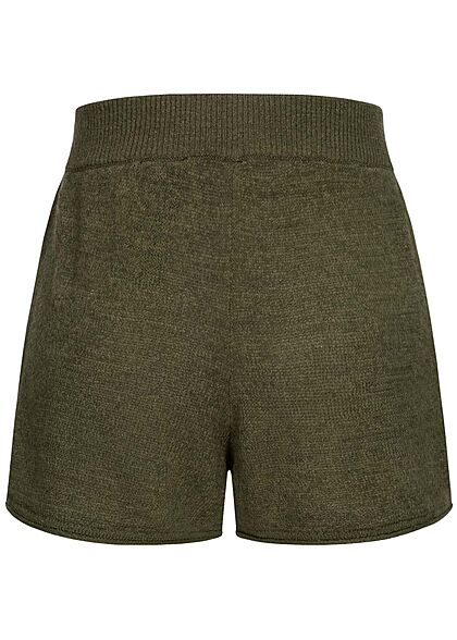 ONLY Damen Strick Shorts Loose Fit Tunnelzug kalamata oliv grün