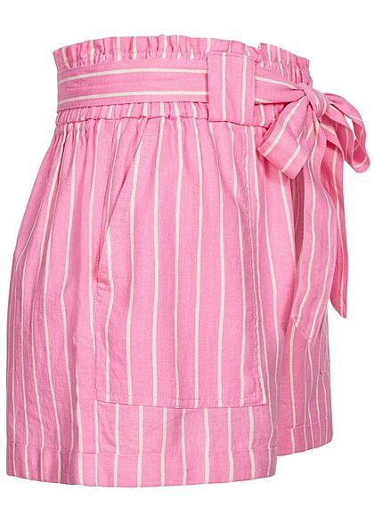 ONLY Damen Paperbag Shorts inkl. Bindegürtel 2-Pockets Streifen Muster sachet pink