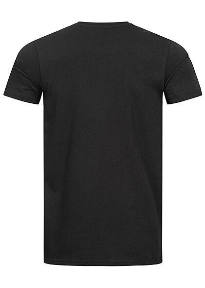 Alpha Industries Herren Basic T-Shirt mit Logo Print schwarz weiss