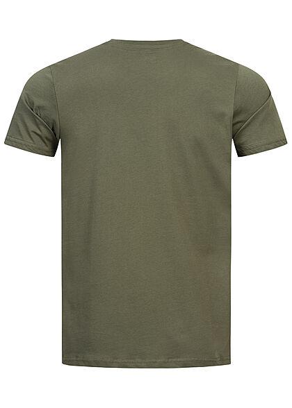 Alpha Industries Herren Basic T-Shirt mit Logo Print dunkel oliv grün