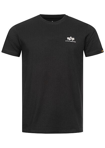 Alpha Industries Herren T-Shirt mit Logo Back Print schwarz