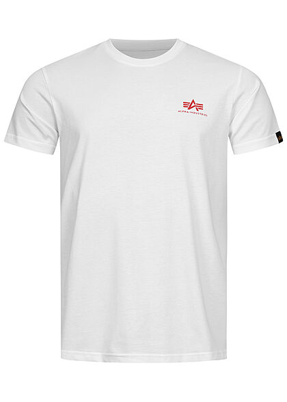 Alpha Industries Herren T-Shirt mit Logo Back Print weiss rot