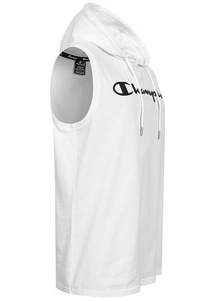 Champion Herren Hooded Shirt Kapuze Tunnelzug Logo Print weiss schwarz