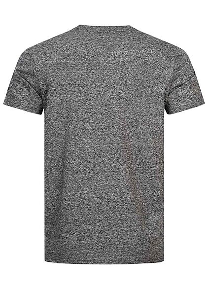 Champion Herren Melange T-Shirt Comfort Fit Logo Patch dunkel grau