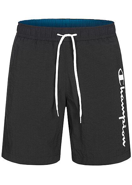 Champion Herren Badehose Shorts 3-Pockets Tunnelzug Logo Print schwarz weiss