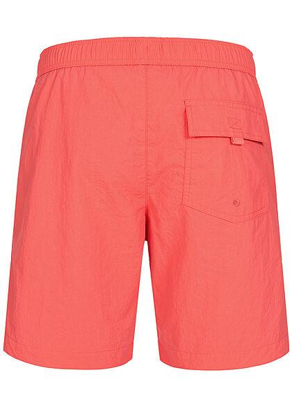 Champion Herren Badehose Shorts 3-Pockets Tunnelzug Logo Print coral rot schwarz