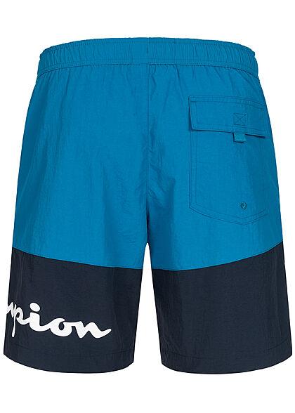 Champion Herren 2-Tone Shorts Badehose 3-Pockets Tunnelzug Logo Print ozean blau navy