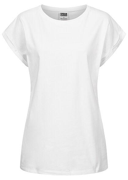 Urban Classics Damen 2er Pack T-Shirt mit breiten Schultern schwarz & weiss