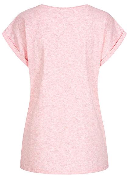 Urban Classics Damen T-Shirt mit breiten Schultern pink melange