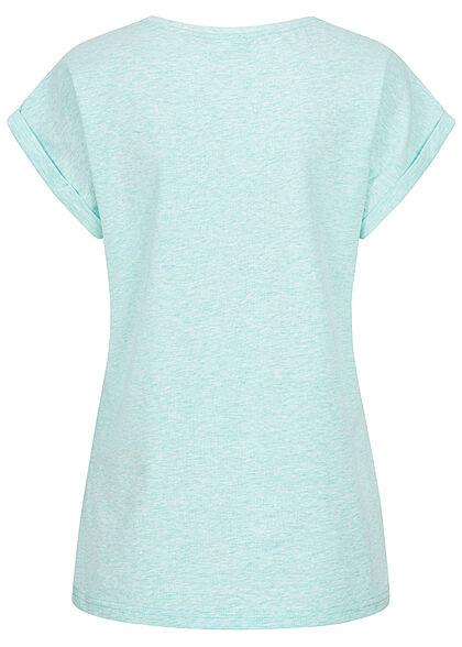 Urban Classics Damen T-Shirt mit breiten Schultern aqua hell blau melange