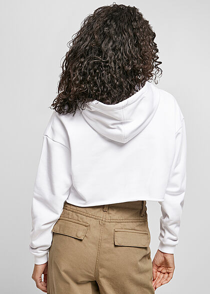 Urban Classics Damen Oversized Cropped Hoodie weiss