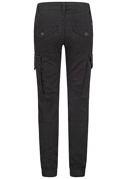 Jack and Jones Junior NOOS Cargo Stoffhose 6-Pockets Tapered Slim Fit schwarz