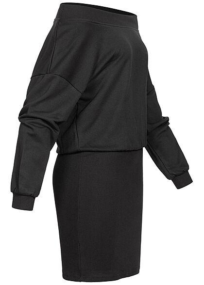 Urban Classics Damen Off Shoulder Sweat Pullover Kleid schwarz