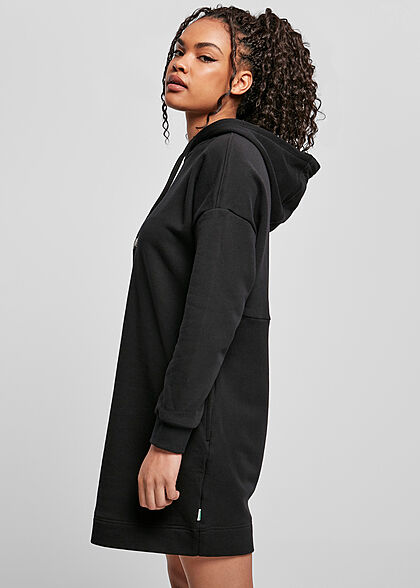Urban Classics Damen Hoodie Sweat Pullover Kleid Kapuze schwarz