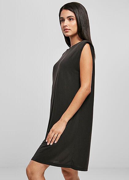 Urban Classics Damen kurzes T-Shirt Kleid mit breiten Schulterpolstern schwarz
