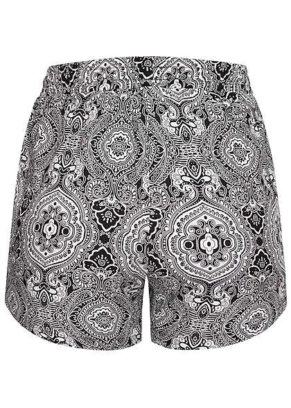 Urban Classics Damen kurze Viskose Shorts Paisley Print 2-Pockets schwarz weiss