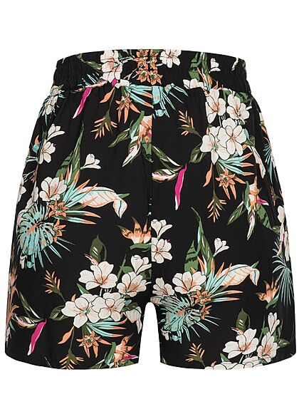 Urban Classics Damen kurze Viskose Shorts Tropical Print 2-Pockets schwarz