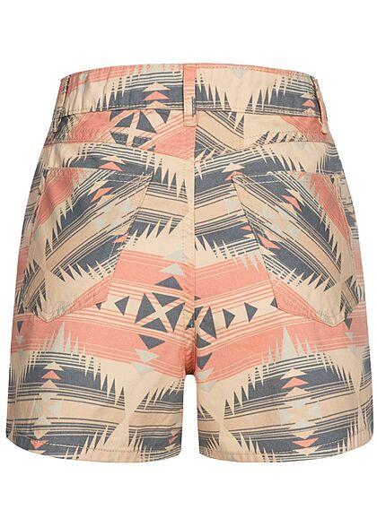 Urban Classics Damen High- Waist Jeans Shorts Azteken Print summerinka orange beige