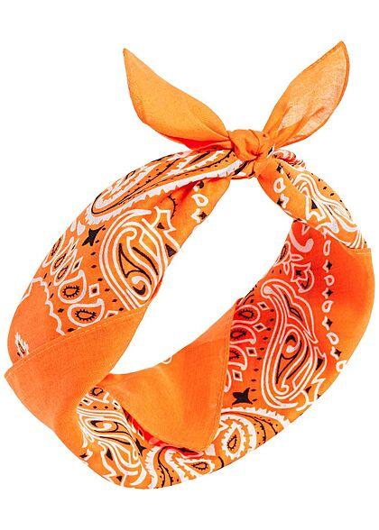Urban Classics Damen 3er Pack Bandana Paisley Print orange & weiss & hell blau