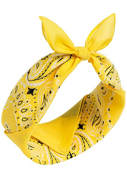 Urban Classics Damen 3er Pack Bandana Paisley Print gelb & weiss & schwarz