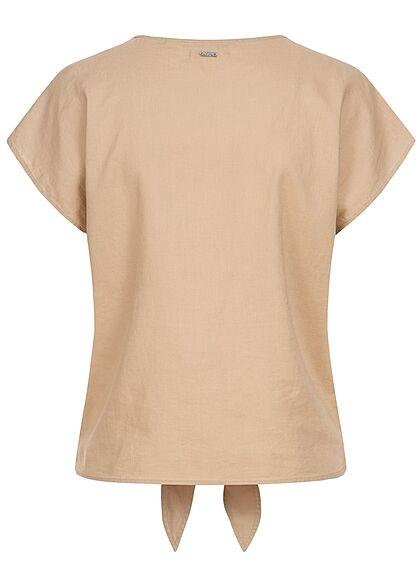 Tom Tailor Damen V-Neck Leinen Blusen Shirt Knopfleiste Bindedetail dune beige