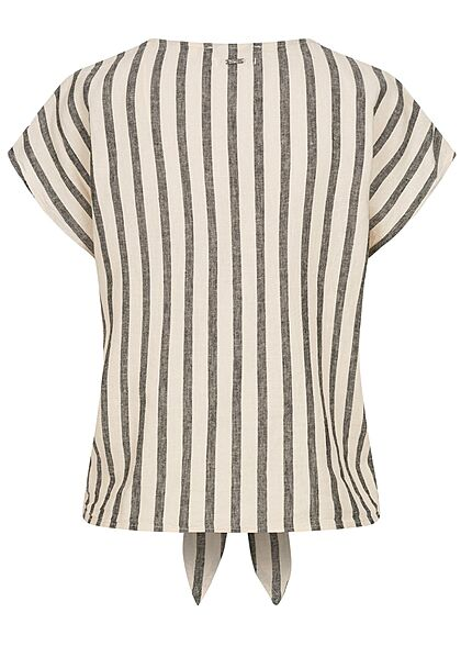 Tom Tailor Damen V-Neck Leinen Blusen Shirt Knopfleiste Streifen Muster schwarz beige