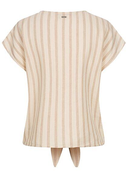 Tom Tailor Damen V-Neck Leinen Blusen Shirt Knopfleiste Streifen Muster braun beige