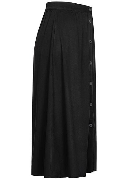 Tom Tailor Damen Viskose Midi Rock Knopfleiste Gummibund schwarz