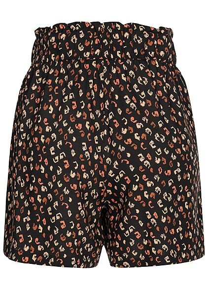 Tom Tailor Damen kurze Viskose Shorts Gummibund Leo Print schwarz multicolor
