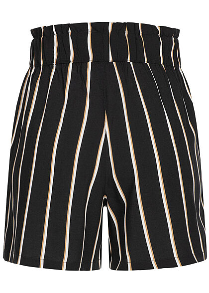 Tom Tailor Damen kurze Viskose Shorts Gummibund Streifen Muster schwarz beige