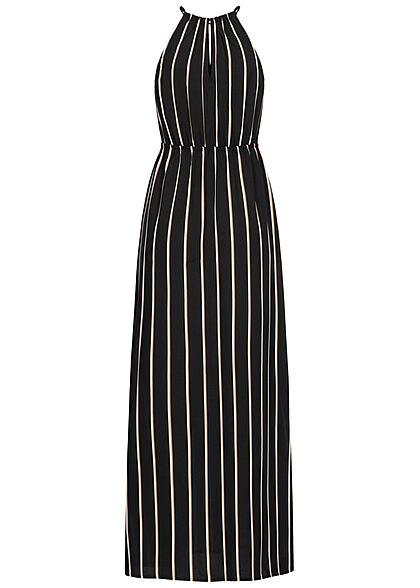 Tom Tailor Damen Neckholder Maxi Kleid Schlitz Ausschnitt Streifen Muster schwarz beige