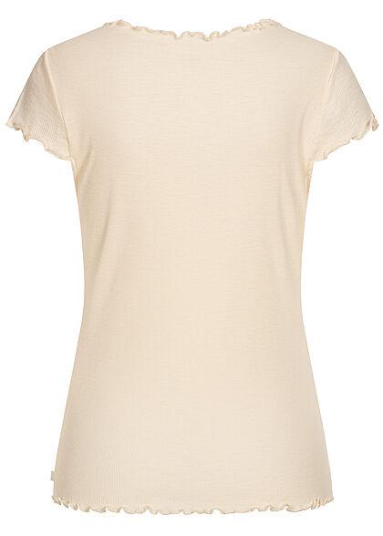 Tom Tailor Damen Ribbed V-Neck T-Shirt mit Frilldetails soft creme beige
