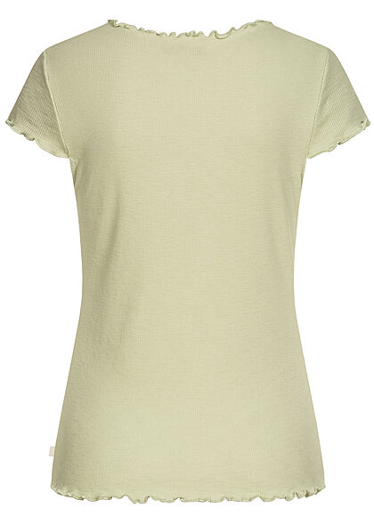 Tom Tailor Damen Ribbed V-Neck T-Shirt mit Frilldetails dusty hell grün