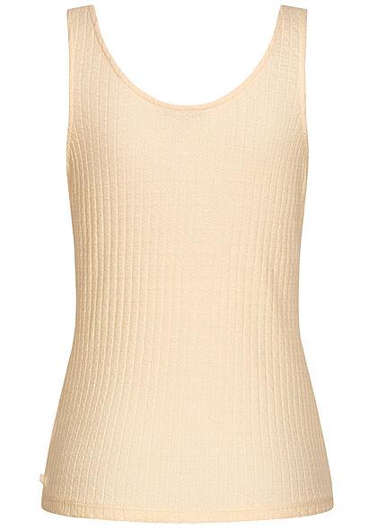 Tom Tailor Damen Ribbed Tank Top mit Deko Knopfleiste soft creme beige