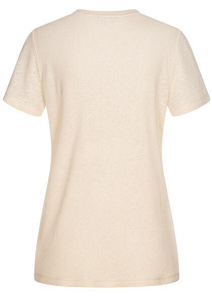 Tom Tailor Damen Basic T-Shirt mit Brusttasche linen weiss