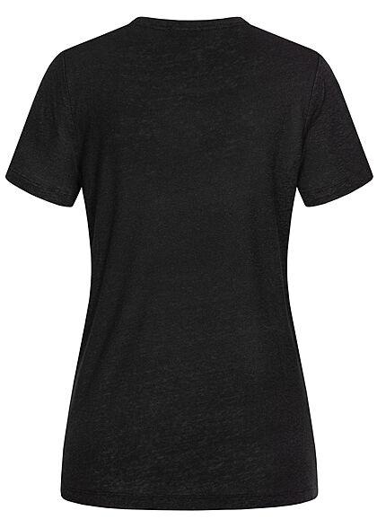 Tom Tailor Damen Basic T-Shirt mit Brusttasche tief schwarz