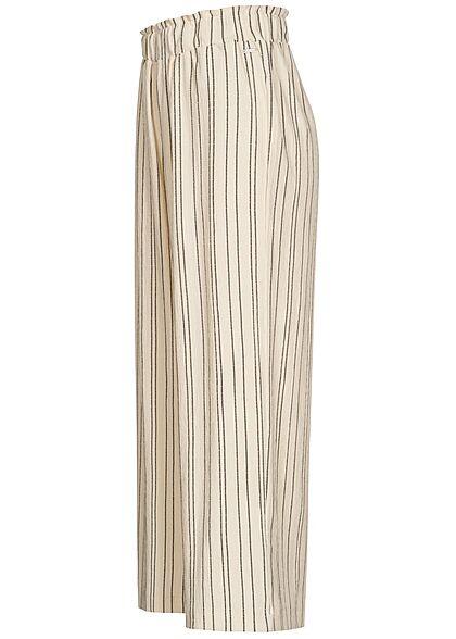 Tom Tailor Damen Culotte Hose Sturkturstoff Streifen Muster creme beige schwarz
