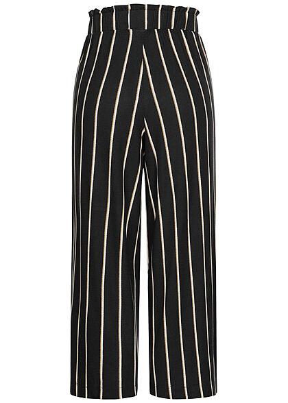 Tom Tailor Damen Paperbag Culotte Hose 2-Pockets Streifen Muster schwarz beige