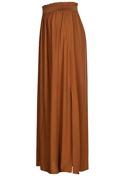 Tom Tailor Damen Paperbag Longform Rock Schlitz seitlich amber braun