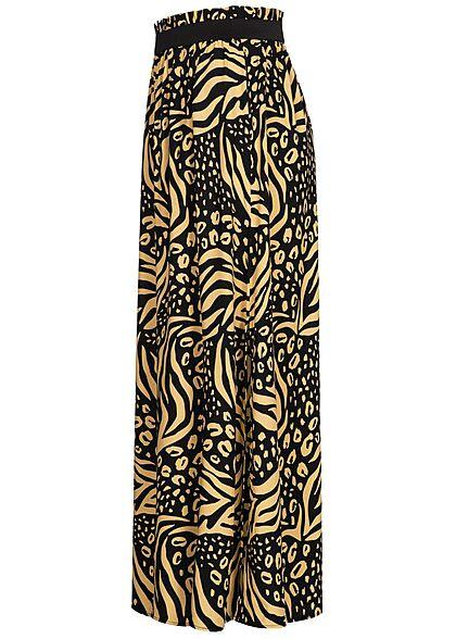 Tom Tailor Damen Paperbag Longform Rock Schlitz seitlich Animal Print schwarz beige