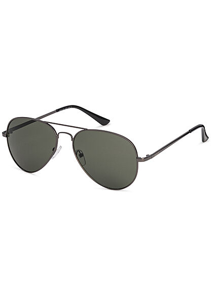 Seventyseven Lifestyle Herren Sonnenbrille UV-Schutz 400 Pilotstyle anthrazit grau grün