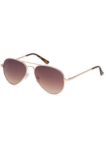 Seventyseven Lifestyle Herren Sonnenbrille UV-Schutz 400 Pilotstyle gold braun