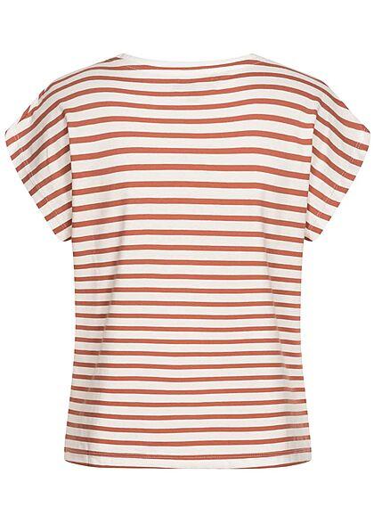 Brave Soul Damen Oversized Shirt Streifen Muster clay rot weiss