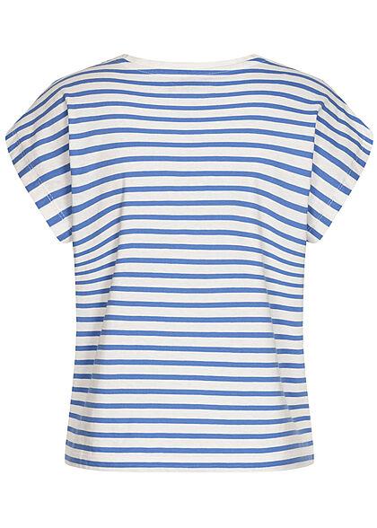 Brave Soul Damen Oversized Shirt Streifen Muster cornflower blau weiss