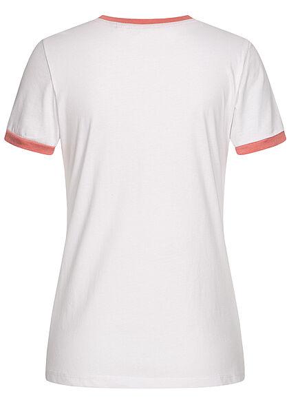 Brave Soul Damen T-Shirt Happy Camper Print weiss coral