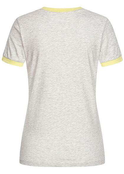 Brave Soul Damen T-Shirt Happy Camper Print pale grau lemonade gelb