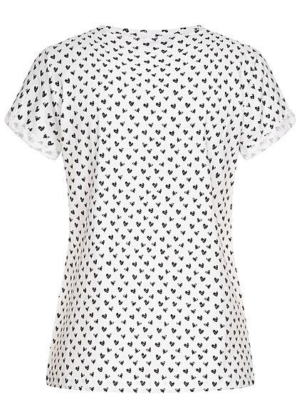 Brave Soul Damen T-Shirt AOP Print mit Herzen weiss schwarz