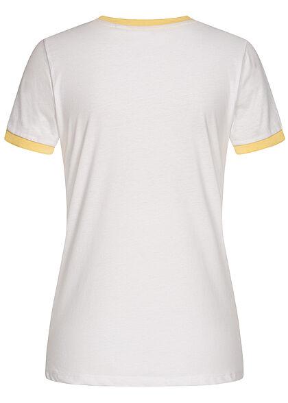 Brave Soul Damen T-Shirt Multicolor Streifen Muster Miami Print weiss gelb