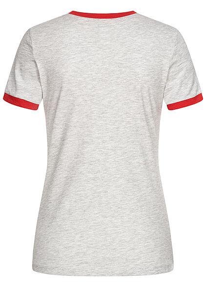 Brave Soul Damen T-Shirt Multicolor Streifen Muster Miami Print grau melange rot