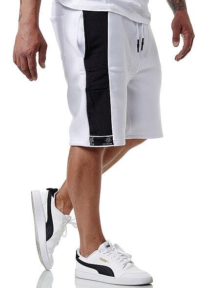 Brave Soul Herren Sweat Shorts Kontrast Streifen 3-Pockets optic weiss jet schwarz